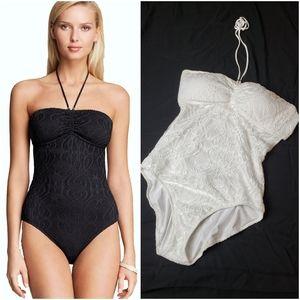🚨NEW Ralph Lauren White Lace Halter Swimsuit L